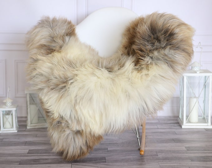 Sheepskin Rug | Real Sheepskin Rug | Shaggy Rug | Scandinavian Rug | | SCANDINAVIAN DECOR | Beige Brown Sheepskin  #MIHER45