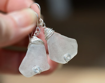Genuine Sea Glass Earrings Silver Wrapped White Sea Glass Earrings Sea Glass Jewelry Handmade Beach Glass Earrings Free Shipping from Israel