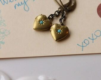 Locket Earrings, Secret Compartment, Turquoise Glass, Vintage Locket, Raw Brass, Heart Earrings