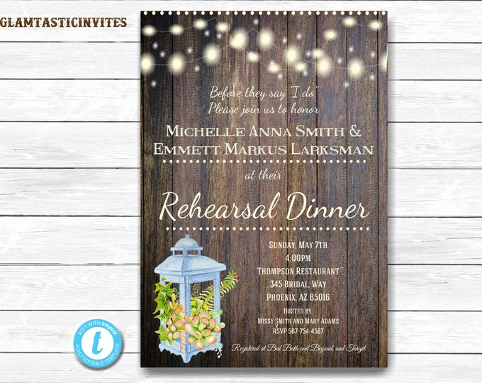 Rustic Rehearsal Dinner Invitation, Rustic Invitation, Cactus Invitation, Rehearsal Dinner Invitation, Succulent Invitation, Template