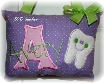 Girls Tooth Fairy Pillow - personalized - Tooth Chart - Polka Dots - Girl Birthday Gift - Christmas Gift for Girls - Flower Girl Gift