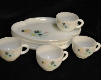 Vintage Federal Glass White Milk Glass Snack Set in the Atomic Flower Pattern