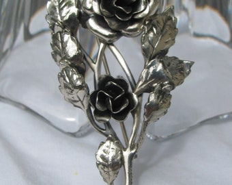 "Gorgeous DANCRAFT STERLING Silver Double Rose Floral Spray Brooch, Mid Century, 2 & 3/8"", Elegant and Refined!"