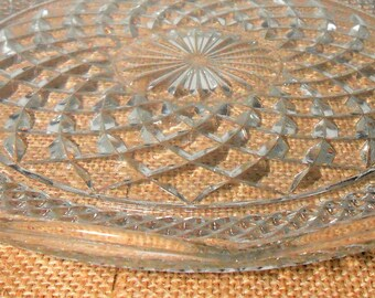 Vintage Cake Plate, Clear Glass, Cake Platter, Serving Platter,  Cake Stand