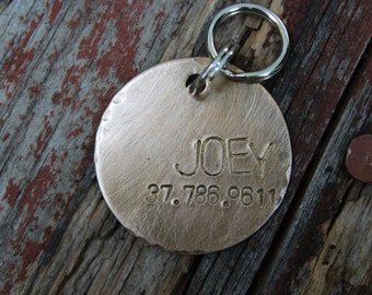 Custom Hand Stamped Dog ID Tag, Personalized Dog Tag, Bronze Dog Tag, The Joey