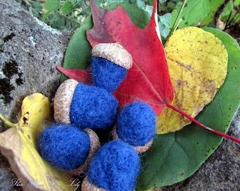 Blue Needle Felted Acorns, Set of 5