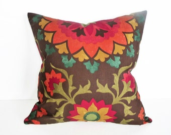 Medallion Pillow Covers, Brown Decorative Pillows, Brown Orange Red, Suzani Throw Pillows, Fall Couch Cushions, 18x18, PillowThrowDecor