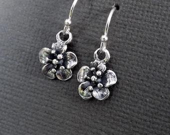 Tiny Flower Earrings Sterling Silver Flower Dangle Botanical Earring, Small Flower Drop Nature jewelry gift for Women, gardening gift flower