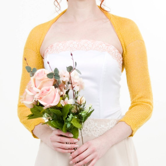 Wedding Shrug Yellow bolero golden Yellow Jacket Bridesmaids