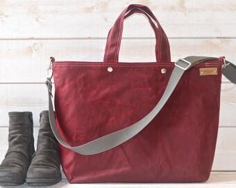 Diaper bag, Waxed canvas bag, Messenger bag, Gift for her, Tote bag, Bordeaux tote bag, work bag, Gift for mom, gift for him