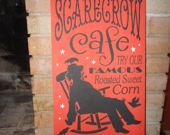 """FALL Sign/Fall Decor/Home Decor/Scarecrow Sign/Primitive Sign/Autumn/Thanksgiving/Halloween/Rustic Sign/Country/DAWNSPAINTING/12"""" x 24"""""""