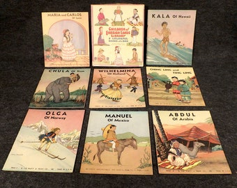 Children of Foreign Lands Library - 8 Colorful Books in Original Box - Platt and Munk Company - Made in USA