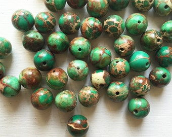 Green Magnesite 8mm Smooth Round Beads