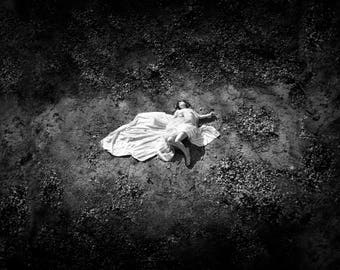 Dark moody sad etsy fallen girl print healing loss black and white wall art photography grief bereavement darkness depression solemn somber moody m4hsunfo