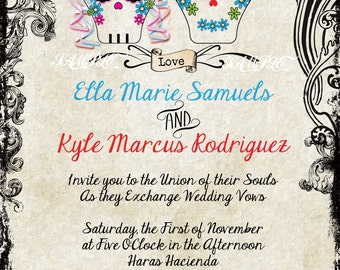 Sugar Skull Invitations, Wedding, Engagement, Dia de los Muertos, Day of the Dead, Hipster, Steampunk, BOHO, Western