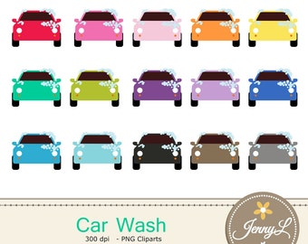 Car Wash clipart, Car Clean  for Planners, Digital Scrapbooking, Invitations, cupcake toppers, Stickers, Labels