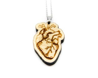 Wooden Heart anatomic Necklace