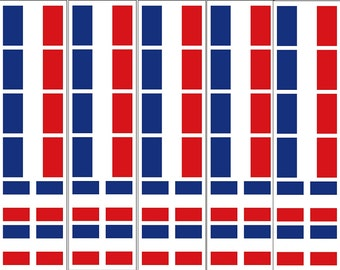 40 Removable Stickers: French Flag, France Party Favors, Decals
