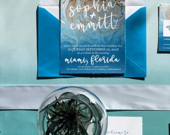 Coastal/Nautical Watercolor Destination Wedding Invitation Suite w/ invitation, save the date, rsvp postcard, details card  + reception menu