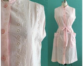 vintage 60's pink eyelet dress // pink spring shirt dress