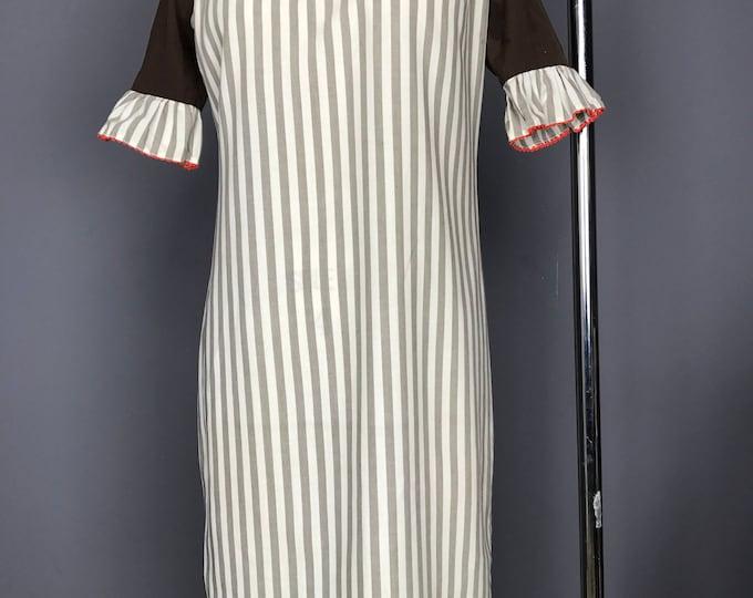 Ruffle Sleeve Awning Stripe Shift Dress