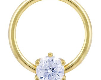 Cubic Zirconia Round Prong 14K Yellow Gold Captive Bead Ring