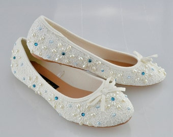 SALE!! Swarovski My Something Blue Crystal Glitter Bridal Ivory Pearl Flat Luxury Vintage Lace White Ballerina - LAST PAIRS!!!