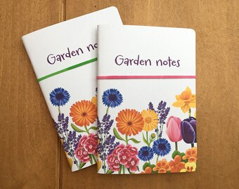 Garden notebook, small notebook with rules pages, can be customised with any title.
