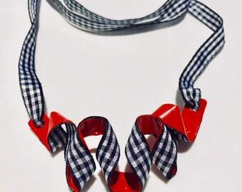 Statement Necklace, Boho Necklace, Unique Pendant, Colorful Necklace, Chunky Necklace, Statement Jewelry, Red Statement Necklace