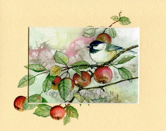 OIRIGINAL HAND PAINTED Mat; print, enhanced mat, chickadee and apples, fall bounty, 8 x 10 inches, wall art, miniature art, original print