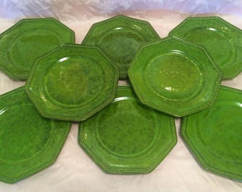 Peasant Village Green Italy Pottery Dinner Set Lot Of 8 Dinner Plates Large Serving Set Pottery Kitchen