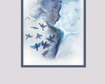 Fine abstract art  wall decor art print Illustration girl painting solitude and silence girl with bird mystical picture