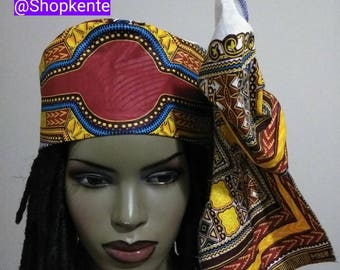 Red and white Chapeau Dashiki kufi Hat with bow/ Women's dashikis hat, African hat