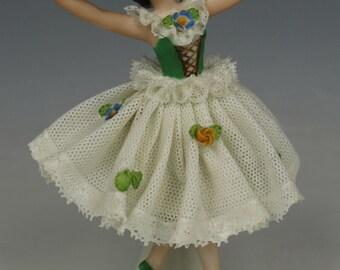 "Ackermann & Fritze Dresden lace figurine ""Dancing Lady"""