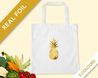 Pineapple Gold Foil Cotton Canvas Tote Bag - Gold Foil Shopping Bag - Grocery Market Tote Bag - Book Bag - Market Tote Bag - Pineapple Art