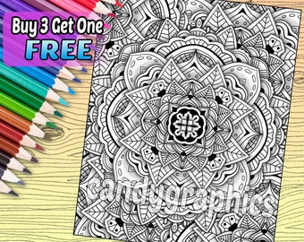 Mandala Pattern Design - Adult Coloring Book Page - Printable Instant Download