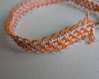 15 inch orange and white hemp necklace