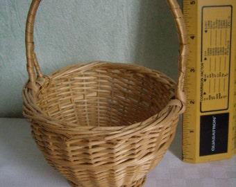 rattan basket, basket of Easter, child's toy, vintage handmade, 1980