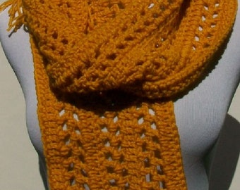 SALE! Gold Spring or Summer Scarf, Crochet Scarf, Handmade Scarf, Fringed Scarf, Crochet Neck Warmer, Scarf for Women