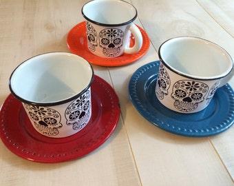 Jour des mort Halloween crânes en sucre émail émail tasse tasse de café pas Vintage