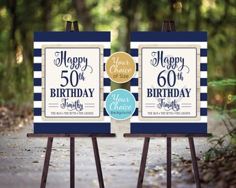 Man's Nautical 40th 50th 60th or Any Age Birthday | Marine Blue | The Man The Myth The Legend | Personalized | DIGITAL PRINTABLE FILES