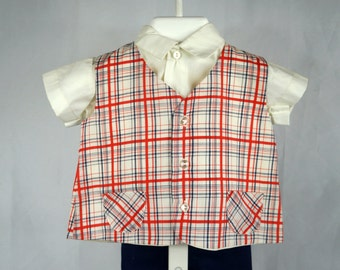 Vintage Boys C.I. Castro 3 Piece Outfit with Plaid Vest, White Shirt, and Navy Blue Shorts- Size 12 months- New, Never worn