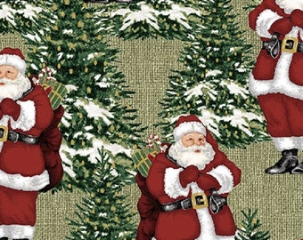 Fat Quarter Homespun Holiday Santa and Trees Cotton Quilting Fabric Christmas