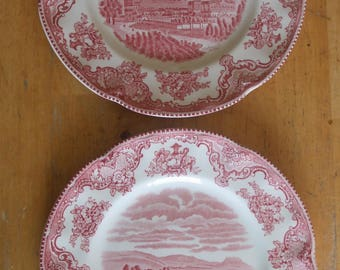 Pair of 1980's Vintage Johnson Bros OLD BRITAIN CASTLES Pattern Ironstone Tea Plates / Bread and Butter Plates