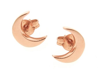 Gold 'Baby Moon' Stud Earrings, crescent moon studs