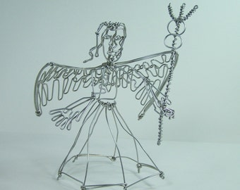Angel wire sculpture vintage  Archangel with trident may be Saint Michel