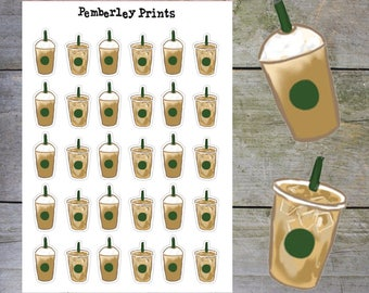 Iced Coffee Cups // Hand Drawn Iced Coffee/Frappe Take Away Cup Planner Stickers // HD25