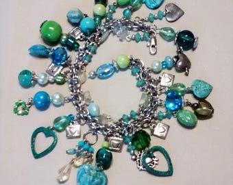 MJ-125 Teal and Green Heart Charm Bracelet