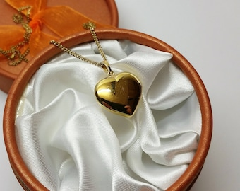 Pendant heart Gold 333 shiny vintage Stainless GA209