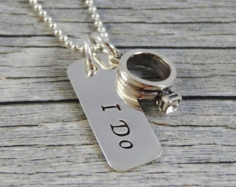 Hand Stamped Jewelry - Personalized Jewelry - Wedding Necklace - Sterling Silver Necklace - Engagement Ring Charm